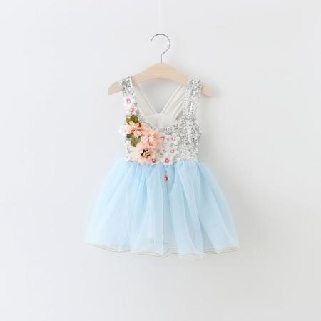 2017 baby girl kids party dress Girls sequined dress Pure hand sewn flower nail bead Princess Dress christmas dresses tutu dresses
