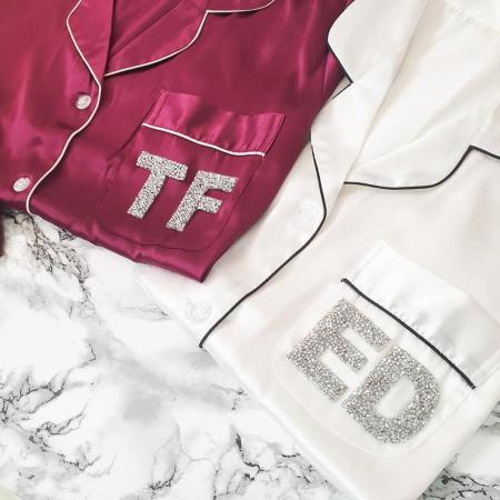 white & wine crystal initials