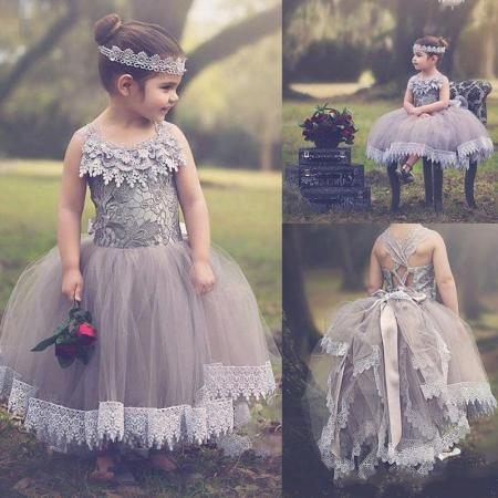 Summer Boho Flower Girl Dresses For Vintage Wedding Jewel Neck Lace Appliques Little Kids First Communion Birthday Ball Pageant Gowns 2016